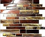USA Premium Store 10SF Golden Brown Metallic Linear Glass Mosaic Tile Kitchen Backsplash Spa Floor