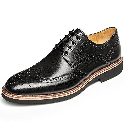 Heren Heren Lederen Oxfords Jurk Schoenen Formele Effen Teen Lace-up Moderne Schoenen Zwart