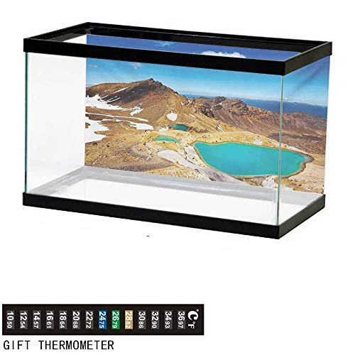 (wwwhsl Aquarium Background,New Zealand,Tongariro National Park Emerald Lakes and Mountains Natural Tourist Attractions,Multicolor Fish Tank Backdrop 72