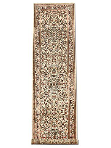 Wool Aubusson Runner (Traditional Persian Handmade Aubusson Hallway Runner, Wool, White, 2' 7