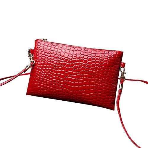 Briefcase Baseball Leather (Liraly Gift Bags,Clearance Sale! 2018 New Women Girl Fashion Purse Leather Crocodile Pattern Mini Crossbody Shoulder Bag (Red))