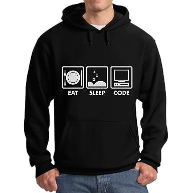 TeeStars - Eat Sleep Code - Funny Programmer Coder Hoodie Small Black
