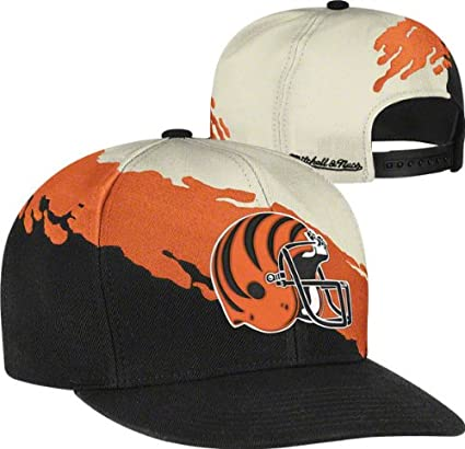 premium selection 2c163 81a33 Image Unavailable. Image not available for. Color  NFL Mitchell   Ness  Cincinnati Bengals Paintbrush Snapback Hat ...
