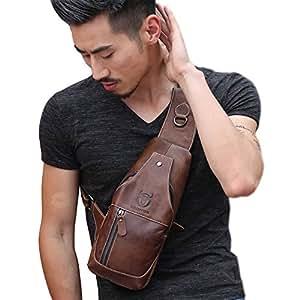 Men's Genuine Leather Sling Bags Chest Shoulder Bag Crossbody Backpack Travel Daypack (brown)
