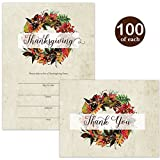 Thanksgiving Feast Invitations ( 100 ) & Thank You Cards ( 100 ) Matched Set with Envelopes Autumn Wreath Large Crowd Fill-In Thanksgiving Turkey Dinner Invites & Folded Thank You Notes Best Value