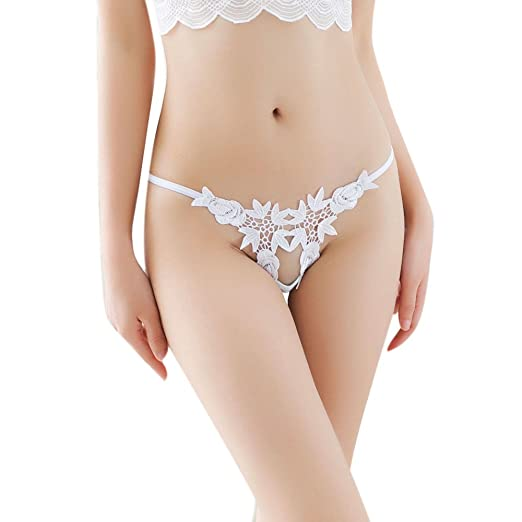 abbb084ee JIUDASG Women Thong Sexy Panties Thong Lace Word Pants Ladies Briefs Underwear  White at Amazon Women s Clothing store
