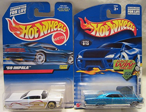 Hot Wheels '59 Impala #1000 White & 1965 Pontiac Bonneville #013 Blue 2 Car Set!