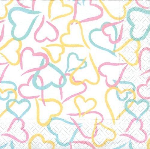 Caspari Entertaining 20-Pack Lots of Love Luncheon Napkins, Pastel by Caspari