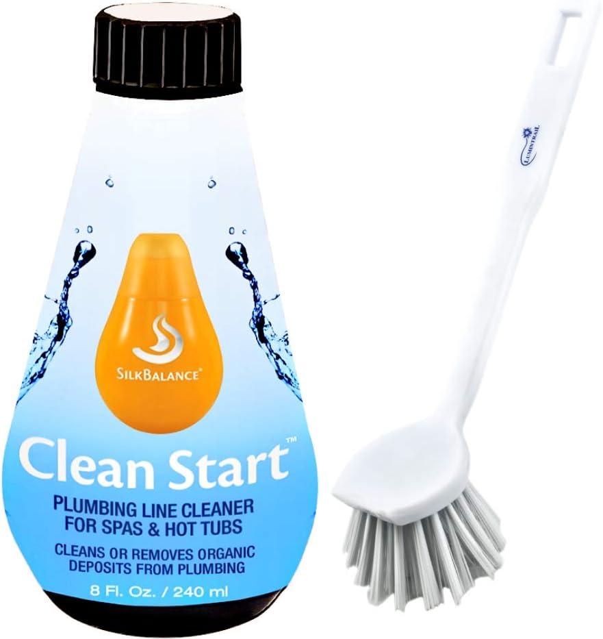 Silk Balance Clean Start 8 oz SPA & Hot Tub Plumbing Line Cleaner Bundle with a Lumintrail Scrub