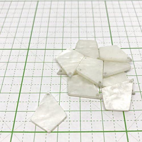【ハンドメイド素材店チャチャ】1つ穴 ダイヤモンド型 シェルパーツ 白色 ハンドメイド 素材 DIY 材料