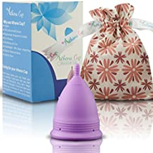 Athena Menstrual Cup - #1 Recommended Period Cup Includes Bonus Bag - Size 2, Solid Purple - Leak Free Guaranteed!