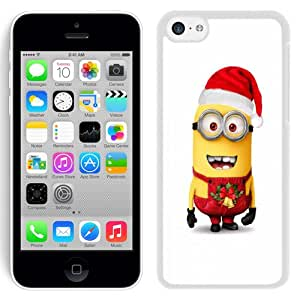 Beautiful Designed Antiskid Cover Case For iPhone 5C Phone Case With Despicable Me Minion Merry Christmas_White Phone Case