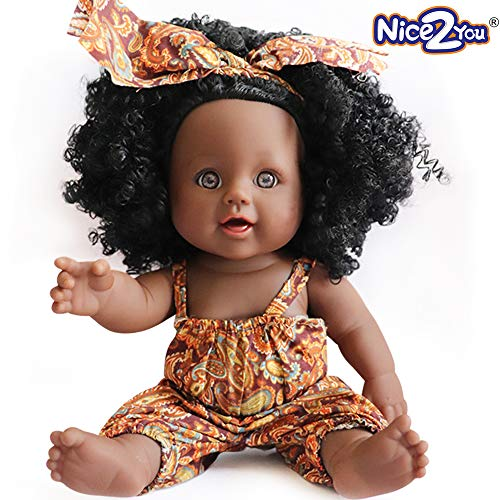 Nice2You Black Doll African Girl Baby Doll for