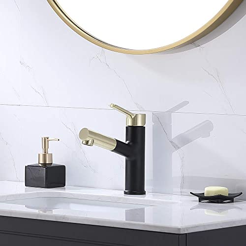 Comllen Best Commercial Brushed Gold And Matte Black Pull out Bathroom sink Faucet,Durable Stainless Steel Single Handle Pull Down Sink Faucets