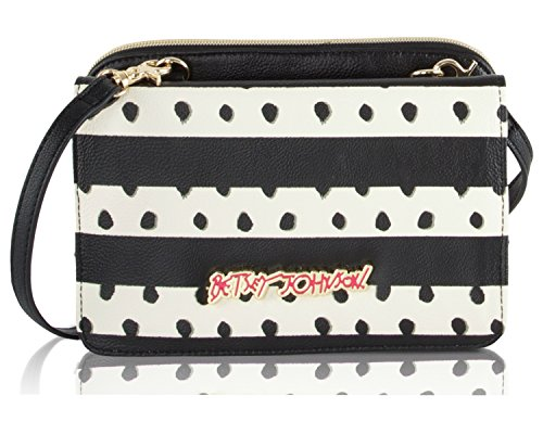 Betsey Johnson Bow Wallet On A String Crossbody Purse - Stripe