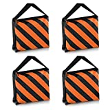 SODIAL(R) Heavyweight bag Heavy duty film bag for studio video studio for light supports tripod arms (4 Pcs Set, Black + Orange)