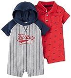 Carter's Baby Boys' 2-Pack One Piece Romper, Allstar/Red Schiffli, 12 Months