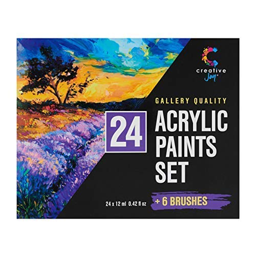 Acrylic Paint Set & Brushes with Rich Pigments in 24 Vivid Colors with 6 Pro Brushes is Great for Intermediate, Advanced and Hobby Painters from Kids Through Adults by Creative Joy (24 Paints) by Creative Joy (Image #7)