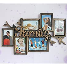 Photo wall combination photo frame family letter injection Siamese picture frame wall 7 inch 6 inch 61 * 39 cm ( Color : Bronze )