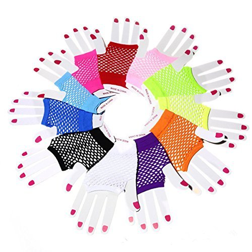 Comfysail 12PCS Adults Short Fishnet Fingerless Net Gloves 80s Rave Fancy Dress ()