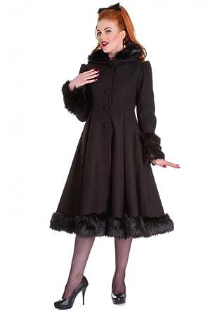 b509da96 Hell Bunny Women's Long Sleeve Coat Black Black: Amazon.co.uk: Clothing