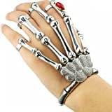 Wise Will Silver Cool Punk Rock Skeleton Skull Hand Bone Ring Bracelet
