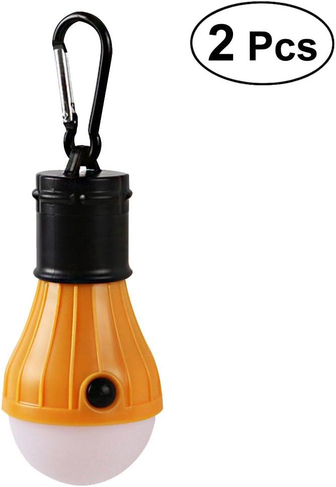 LEDMOMO 2pcs LED que acampa luces con pilas de la linterna de la bombilla de la tienda para mochilear acampar que camina la luz de emergencia de la pesca amarillo