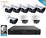 LaView 1080P IP 8 Camera Security System, 16 Channel IP PoE HDMI NVR (Resolution 1080p - 6MP) w/3TB HDD and 2 Dome & 6 Bullet High Resolution 2MP White Surveillance Camera Kit