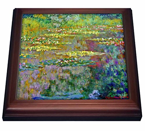 3dRose trv_155656_1 Water Lilies by Impressionist Artist Claude Monet-Water Lilies on Lake Famous Nature Impressionism Trivet with Ceramic Tile, 8 by 8