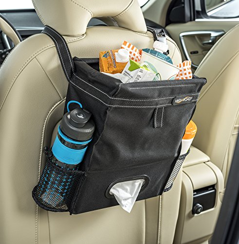 high-road-puffnstuff-car-trash-bag-organizer-and-tissue-holder-black