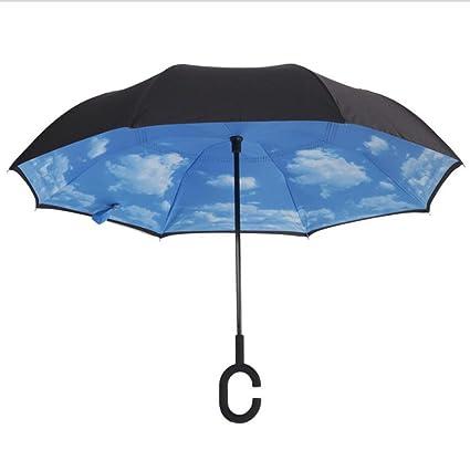 Paraguas THUNFER Paraguas Tipo C Paraguas Invertido Mano Movimiento Paraguas Doble A Prueba De Viento Paraguas