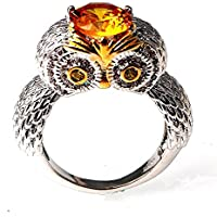 A.Yupha 1.5ct Yellow Topaz Animal Owl Men Women 925 Silver Wedding Prom Ring Size 7