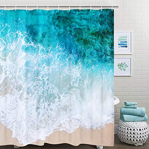 (BLEUM CADE Bathroom Shower Curtain Ocean Beach Shower Curtains with 12 Hooks, Blue Sea Waves Sand Bath Curtain Durable Waterproof Fabric Bathroom Curtain)