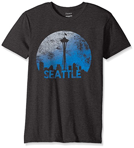 Hanes Men's Graphic T-Shirt-Americana Collection, Slate Heather/Seattle, Large