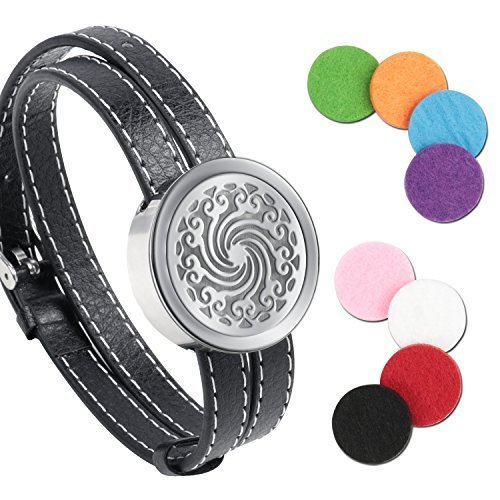 510XWpG19xL - Essential Oil Diffuser Bracelet,Stainless Steel Aromatherapy Locket Bracelets Leather Band with 8 Color Pads,Girls Women Jewelry Gift Set