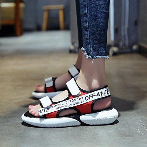 c9db5811a QQWWEERRTT Moda Sandalias Deportivas Mujeres Zapatos de Plataforma de  Verano Nuevos Estudiantes Universales Planos rojo