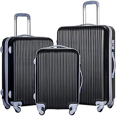 Merax Newest 3 Piece Luggage Set Suitcase Spinner Hardshell Lightweight (Black)