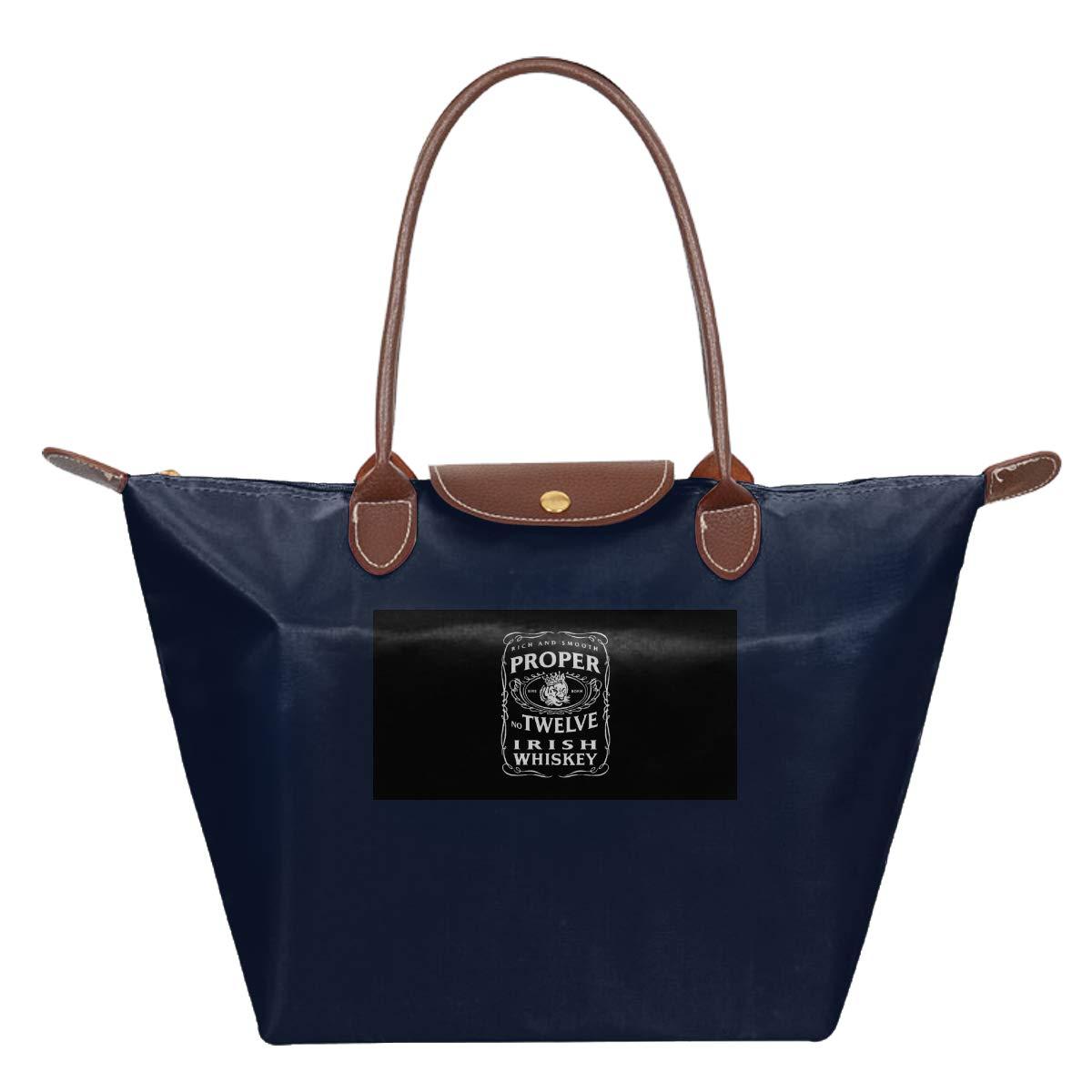 Proper 12 Irish Whiskey McGregor Inspired Print Design Waterproof Leather Folded Messenger Nylon Bag Travel Tote Hopping Folding School Handbags