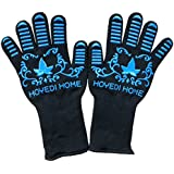 Hoyedi Extreme Heat Resistant Cooking Gloves EN407 Certified-Eco-friendly Silicone Grilling Protective Mitts 932°F BBQ Gloves for Grilling,Smoking,Cooking,Frying & Baking 13 inch Long