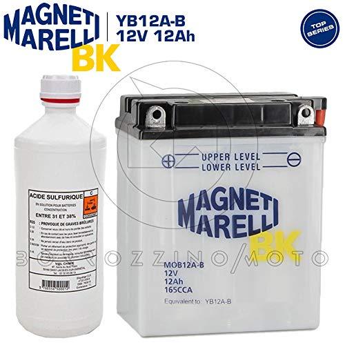 SFIATO A DESTRA BATTERIA MAGNETI MARELLI YB12A-B MOB12A-B 12V 12AH CON ACIDO INCLUSO