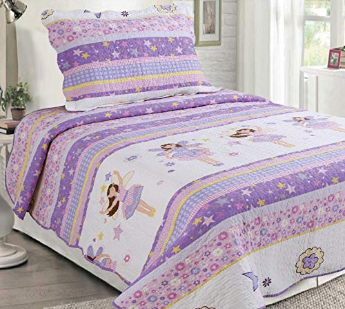 Sapphire Home 2pc Twin Size Bedspread Quilt Set Bedding for Kids Teens Girls, Stars Ballerina Doll Purple Lavender Coverlet, Twin Bedspread + Pillow Sham, Twin CJ23 Ballerina Lavender (Quilt Set Lavender)