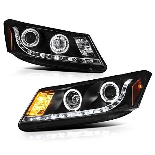 - [For 2008-2012 Honda Accord Sedan] LED Halo Ring Black Projector Headlight Headlamp Assembly, Driver & Passenger Side