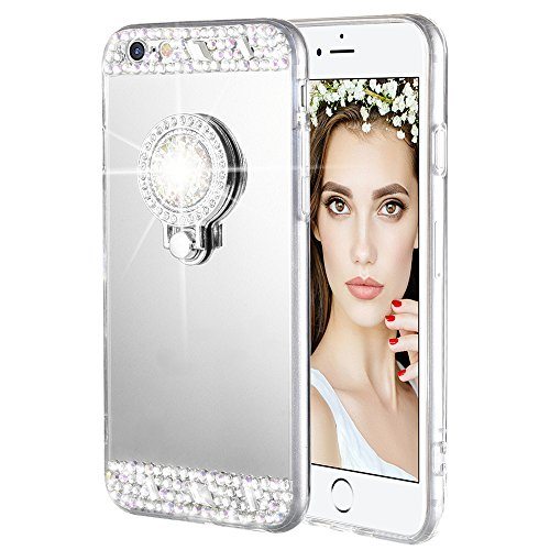 Caka iPhone 6 Plus/6S Plus Case, Rhinestone Series Glitter Luxury Cute Shiny Bling Mirror Makeup Case for Girls with Ring Kickstand Diamond TPU Case for iPhone 6 Plus/6S Plus - (Silver)