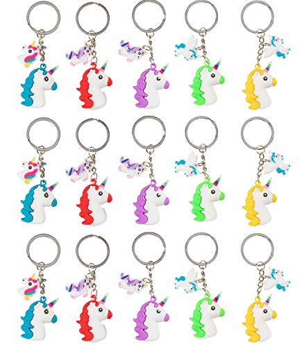 Rainbow Unicorn Head Key Chains - 15-Pack Silicone Rubber Keychains for Girls, Assorted Unicorn-Themed Party Supplies Favors, Ideal for Fantasy Parties, Magical Birthdays, Game Prizes