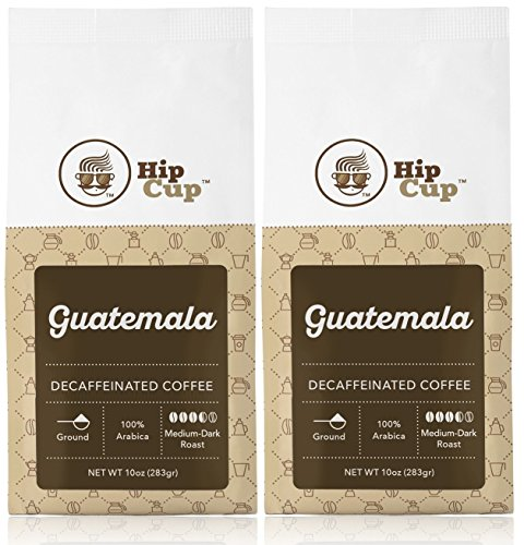 HipCup Guatemalan Decaf Coffee|Ground|10 Ounces (Pack of 2)