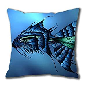 3D Cool Fish Cotton Square Pillow Case by Cases & Mousepads by kobestar