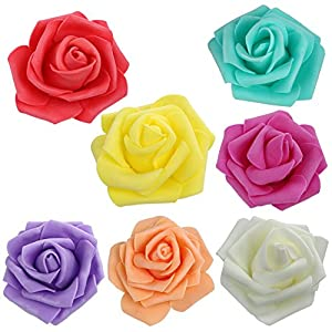 Whitelotous 50PCS DIY Artificial Foam Rose Head Real Touch Flower Without Stem for Wedding Party Home Decoration 117
