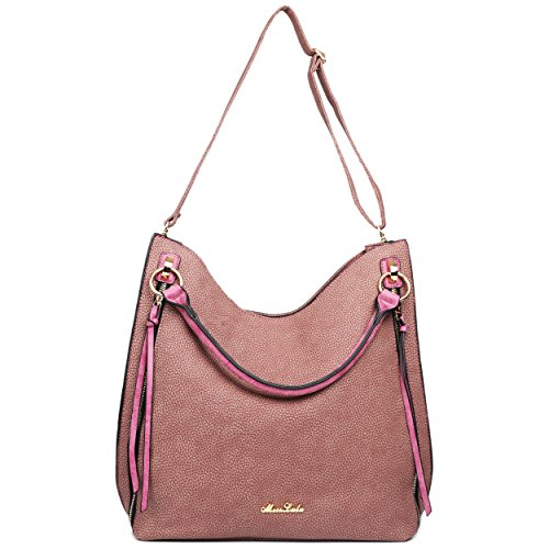 Hobo Shoulder Miss Purple Leather Look Lulu Tassel Bag Textured wYTYXOx