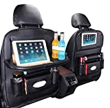 Pu Leather Car Back seat Organizer with Foldable Table Tray, Car Seat Protector + Backseat Organizer, Table Tray, Foldable Dining Table with iPad and Tablet Holder, Travel Accessories Organizer