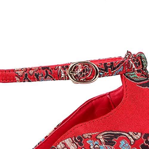 BalaMasa APL10789 Pumps Embroidered Red Womens Medallion Dress Urethane Shoes vr80rqX5w